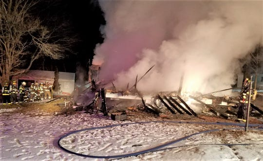 Occupants escaped safely before flames leveled a home in the northern Tioga County community of Daggett early Saturday morning.