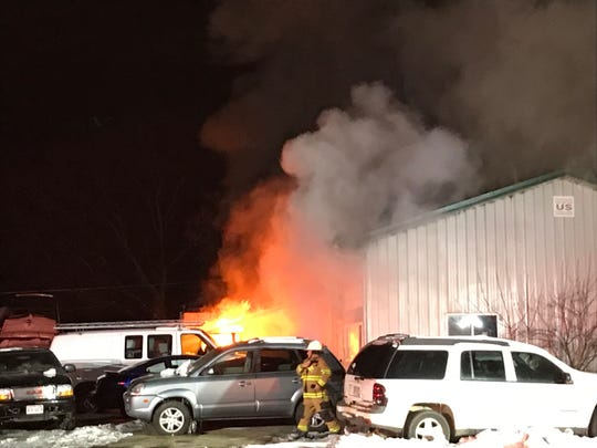Firefighters responded to a fire at a used car dealership Sunday night on Van Dyne Road in Fond du Lac.