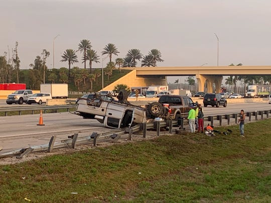 This rollover crash on I-75 northbound near Alico Road also reportedly sent several people to the hospital on Monday, Feb. 17, 2020.