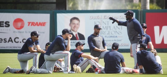Tommy Watkins, a Riverdale graduate and first base coach for the Minnesota Twins coaches during spring training at the Lee County Sports Complex on Monday Feb/ 17, 2020. He has moved up through the coaching and playing ranks to land a spot on the major league team since last year.