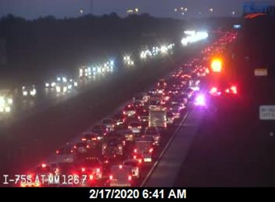 A crash and a vehicle fire on southbound Interstate 75 at the 126 mile marker, between Alico and Corkscrew roads, has the freeway backed up Monday morning.
