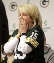 Kari Bernier, of Dyersburg, Tenn., reacts after being named the 2019 Packers FAN Hall of Fame inductee on Feb. 17, 2020, at Lambeau Field in Green Bay, Wis.