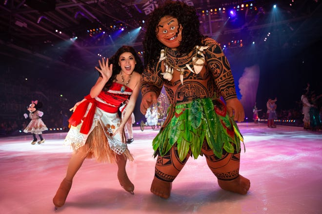 "Moana and Maui wave to the crowd during Disney on Ice presents ""Dream Big."""