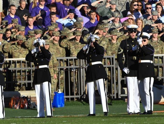 Military Appreciation Day ceremony is conducted during the Clemson vs. Wofford football game in November of 2019 at Clemson's Memorial Stadium.