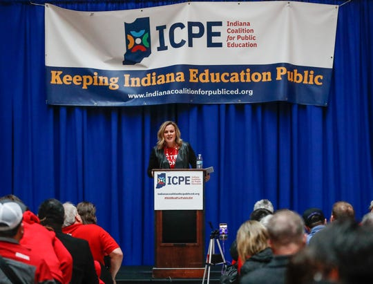 Superintendent of Public Instruction Jennifer McCormick speaks during a rally organized by the Indiana Coalition for Public Education, held at the Indiana State House on Monday, Feb. 17, 2020.