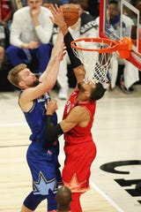 Feb 16, 2020; Chicago, Illinois, USA; Team Giannis center Rudy Gobert of the Utah Jazz blocks the shot of Team LeBron forward Domantas Sabonis of the Indiana Pacers during the second quarter during the 2020 NBA All Star Game at United Center.
