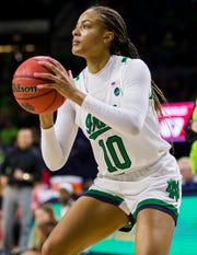 Notre Dame's Katlyn Gilbert (10) sets up for a shot during an NCAA college basketball game against Louisville on Thursday, Jan. 30, 2020, in South Bend, Ind. Louisville won 86-54.