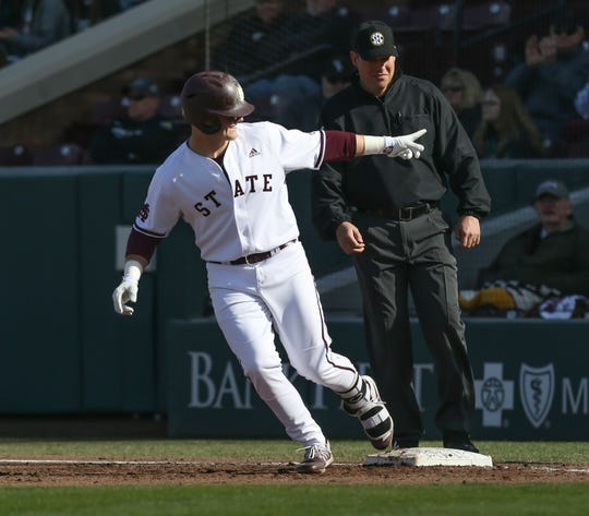Mississippi State's Logan Tanner (19) rounds first base after hitting a home run. Mississippi State played Wright State at Dudy Noble Field in game 2 of the series on Saturday, February 15, 2020. Photo by Keith Warren