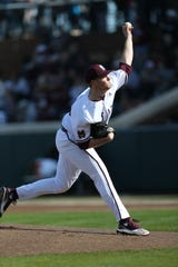 Mississippi State's Christian MacLeod (28) pitches in the first inning. Mississippi State played Wright State at Dudy Noble Field in game 2 of the series on Saturday, February 15, 2020. Photo by Keith Warren