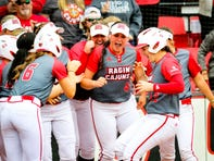 UL SS Alissa Dalton and her teammates celebrate her grand slam during the matchup between UL and Samford at Lamson Park in Lafayette, Louisiana on February 15, 2020.