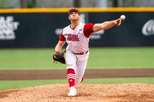 UL pitcher Brock Batty, shown here throwing against Louisiana Tech in February, has entered the NCAA transfer portal.