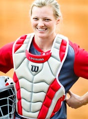 Senior Julie Rawls, from Texas, transitioned from the outfield to catcher after transferring to UL last season from Northwestern State.