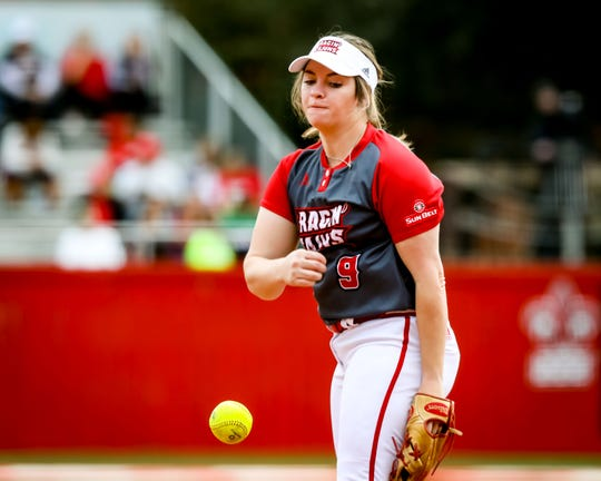 UL P Summer Ellyson delivers a pitch during the matchup between UL and Samford at Lamson Park in Lafayette, Louisiana on February 15, 2020.