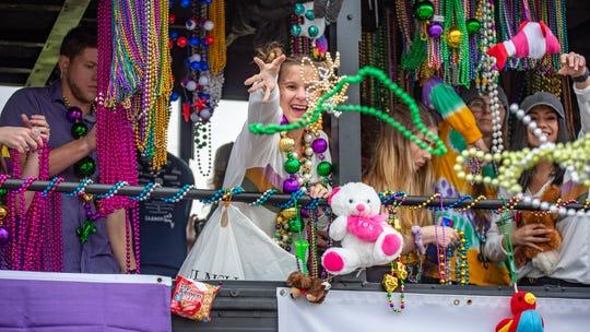 The Scott Mardi Gras parade rolled through Sunday Afternoon Sunday, Feb. 16, 2020.