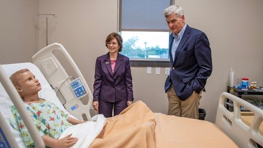 SLCC Chancellor Natalie Harder gave U.S. Senator Bill Cassidy a tour of the virtual hospital Monday, Feb. 17, 2020.