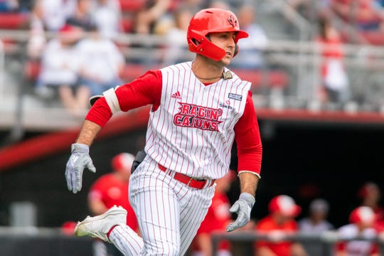 UL's Brennan Breaux rushes to first base as the Ragin' Cajuns fall to Louisiana Tech on Sunday.