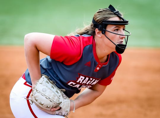 UL P Megan Kleist concentrates on the batter during the matchup between UL and LSU at Lamson Park in Lafayette, Louisiana on February 15, 2020.