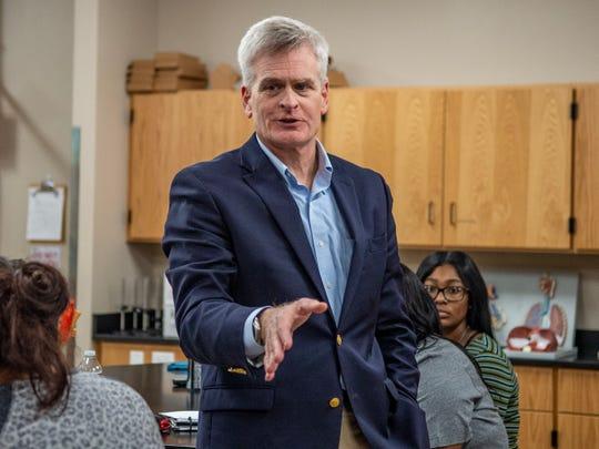 U.S. Senator Bill Cassidy speaks with students at SLCC Monday, Feb. 17, 2020.