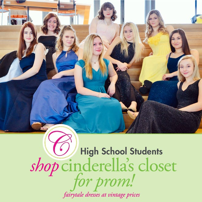 Livingston County high school students model prom dresses that were available for $25 at Cinderella's Closet boutique events in March. Shown are, back row from left, Lexi O'Connell, Lauren Rauch and Nicole Caudy, middle row, Devin Douglas, Sidney Furge, Gabriela Gartner and Olivia Diakantonis, front row, Quinn Mallory, Kammy Killian.