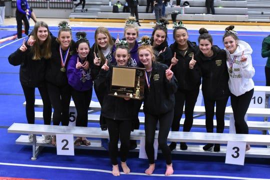 Howell's gymnastics team won its first KLAA championship on Saturday, Feb. 15, 2020 at Plymouth.