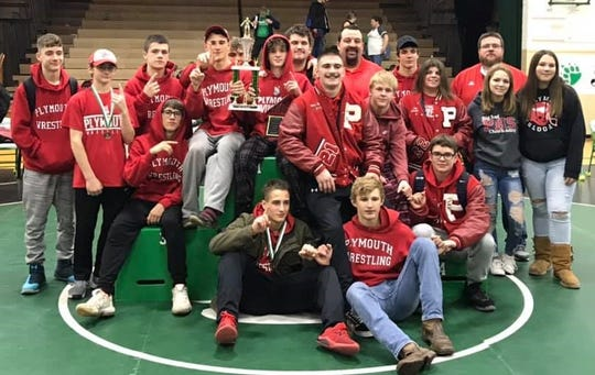 Coach Jeremiah Balkin's Plymouth Big Red won their fifth title of the season by winning the Margaretta Invitational wrestling tournament on Saturday