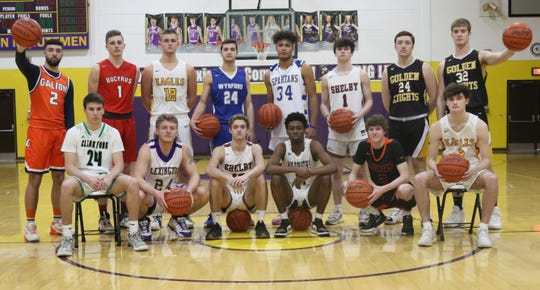 The 2019-20 Mansfield News Journal All-Star Classic South Team consisted of (back row: left to right) Isaiah Alsip, Lucas Kozinski, Gavin Feichtner, Josh Crall, Jonah Ramey, Jonny Devito, Hunter Mariotti, Blake Miller, (front row: left to right) Brennan South, Kaydan Berry, Grant Gossom, Shaquan Coburn, Carson Hauger and Jordan Fenner.