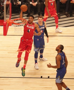 Giannis Antetokounmpo eyes the rim during last year's NBA All-Star Game.