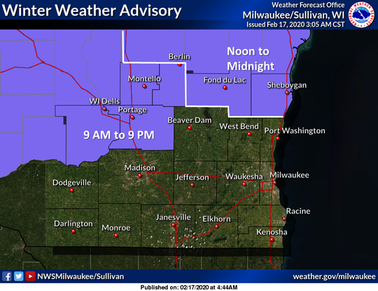 Winter weather advisories are in effect Monday across central and northeast Wisconsin.