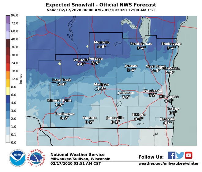 Areas northwest of the Milwaukee metro are expected to see accumulating snow on Monday.