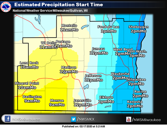 Forecasters expect precipitation to spread across southern Wisconsin from west to east on Monday.