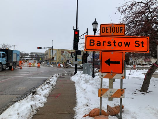 A detour sign points northbound traffic on Barstow Street to Main Street as work begins Feb. 17, 2020, in downtown Waukesha. Barstow from Wisconsin Avenue to North Street will undergo construction in stages until about Sept. 30.