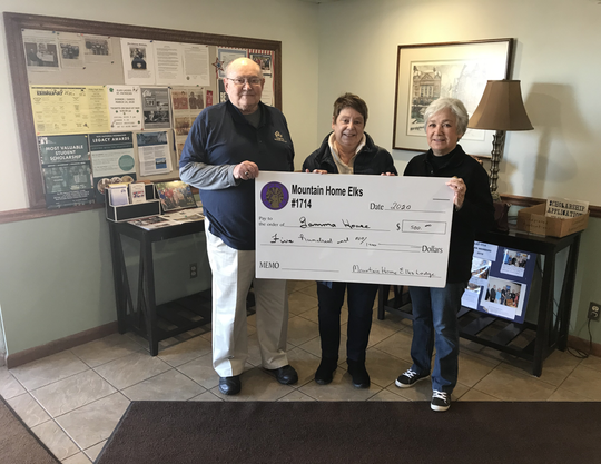 The Mountain Home Elks Lodge recently donated $500 to Gamma House, a nonprofit organization dedicated to offering shelter and assistance to homeless women and children to rehabilitate them back into the mainstream of life. Pictured above are (from left) Stuart Friend, Elks president; Liz Smith, Gamma House Board member; and Sherie Brown, Elks grant coordinator.