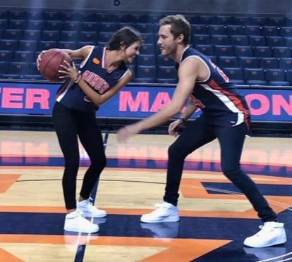 """Madison Prewett (left) and """"The Bachelor"""" Peter Weber (right) at Auburn Arena."""