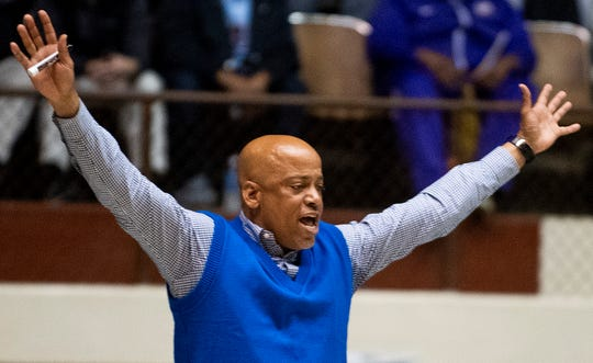 Catholic coach Michael Curry coaches against B.T. Washington in AHSAA regional basketball action in Montgomery, Ala., on Monday February 17, 2020.