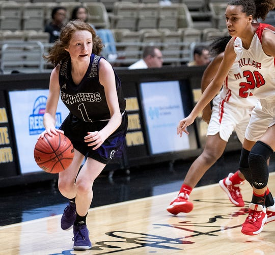 Prattville Christian's Avery Rogers (1) against T.R. Miller in AHSAA regional basketball action in Montgomery, Ala., on Monday February 17, 2020.