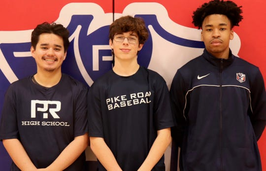 From left, Pike Road High School students Alex Vasquez, Tyler Carr and Darius Clayton have all earned certified production technician certificates in automotive manufacturing as part of a dual enrollment program between PRHS and Trenholm State Community College. Not pictured is Jonathan Smith, who also earned the designation.