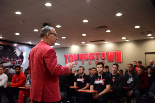 Newly hired Youngstown State head coach Doug Phillips talks to the Penguin players for the first time. Phillips was the principal at Dickson County High School, leaving in 2015.