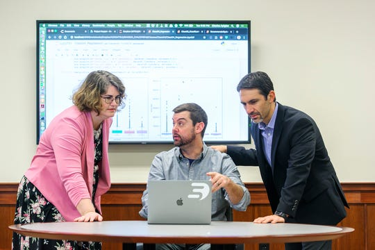 Pictured, from left, are MTSU's Lisa Green, interim Math Department chair; Ryan R. Otter, biology professor; and Charlie Apigian, information systems and analytics professor. Apigian and Otter are co-directors of the university's Data Science Institute and all three are key faculty in MTSU's new Data Science initiative, including a new bachelor's degree in data science available starting fall 2020. (MTSU photo by Cat Curtis Murphy)