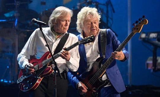 Justin Hayward, left, and John Lodge of the Moody Blues perform during the Rock and Roll Hall of Fame induction Saturday in Cleveland.   David Richard/AP Justin Hayward, left, and John Lodge of the Moody Blues perform during the Rock and Roll Hall of Fame induction ceremony Saturday, April 14, 2018, in Cleveland. (AP Photo/David Richard)