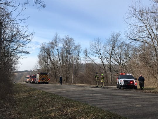 Licking County emergency personnel respond to a call for a trench rescue on the 9700 block of Honda Hills Road SE on Monday Feb. 17, 2020.