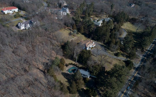 Three lots at 107, 111, and 115 East Allendale Road make up one of five sites designated for affordable housing in Saddle River. Drone image taken on Monday, Feb. 17, 2020.