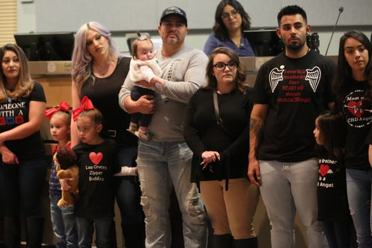 About 50 people gather at City Hall in Las Cruces, Monday, Feb. 3, 2020, for a mayoral proclamation for Congenital Heart Disease Awareness Month.