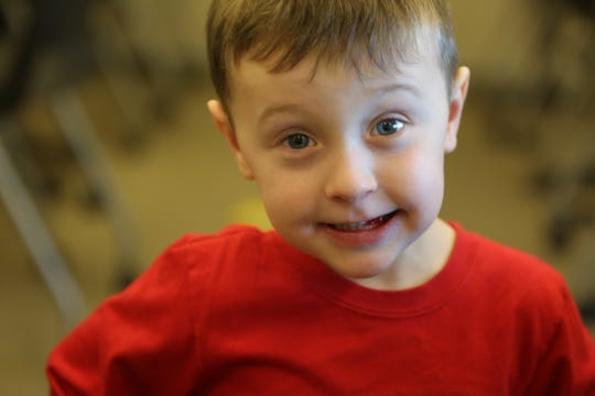 Las Cruces resident Nathaniel Beach, 4, was born with a congenital heart defect, but he doesn't let that slow him down. Nathaniel strikes a pose for the camera, Monday, Feb. 3, 2020, during a mayoral proclamation for Congenital Heart Disease Awareness Month.