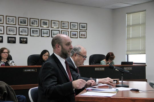 Otero County bond counsel Mark Chaiken and George Williford address the commission at the regular Otero County Commission meeting Feb. 13.