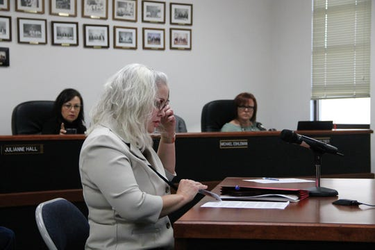 Otero County District Court Executive Officer Katina Watson at the regular Otero County Commission meeting Feb. 13.