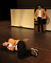 """Nick Drivas, left, and Gareth West rehease a scene from the Four Corners Musical Theatre Company production of """"Disaster!"""""""