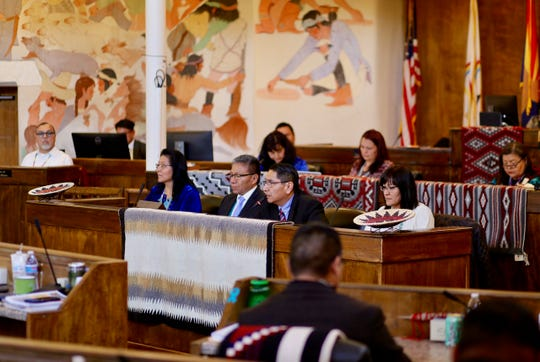 Navajo Nation President Jonathan Nez, center, gives the State of the Nation Address to the Navajo Nation Council on Jan. 27, 2020 in Window Rock, Arizona.