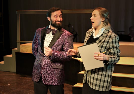"""Matt Aaron and Natalie Szczerba perform in the Four Corners Musical Theatre Company production of """"Disaster!"""""""
