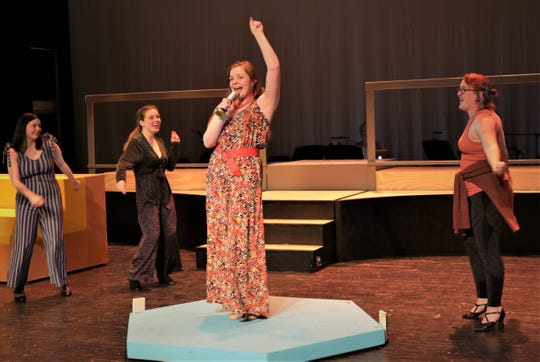 """Mady Brand, Jada Smith, Kim Camacho and Melissa Cheffers rehearse a scene from the Four Corners Musical Theatre production of """"Disaster!"""" opening Feb. 20 at the Farmington Civic Center."""