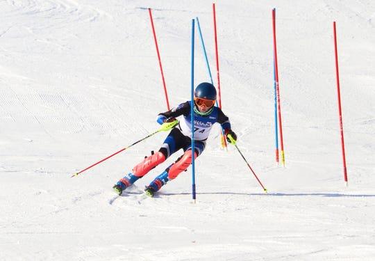 Zach Massey races for the Lakeland boys ski team.